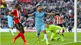 Sunderland 0–2 Man City: Aguero tỏa sáng, Man City lên thứ 3 Premier League