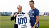 Cristiano Ronaldo khoe chiếc áo đặc biệt ghi dấu cột mốc 100 bàn